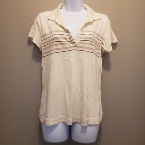 Old Navy Collared V-Neck Cream T-Shirt Size Large